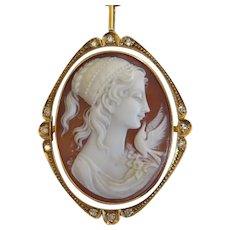 Shell Cameo pendant/ brooch with diamonds, 14k yellow gold, ca.1930