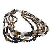 Vintage 5 strands gem stone necklace, ca. 1960
