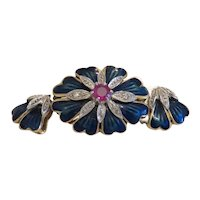 Vintage blue Enamel closure with Ruby and Diamonds, ca.1950