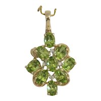 Vintage Peridot and Diamond pendant, 14 k yellow gold