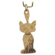 Vintage Cat pendant, 14k yellow gold, ca. 1960