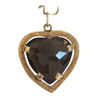 Vintage heart cut Smoky Quartz pendant, 14 k yellow gold, ca.1950