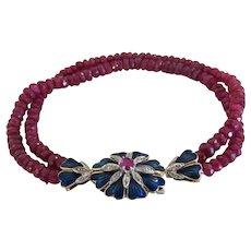 Vintage Ruby bead bracelet, 18k yellow gold