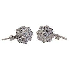 Vintage Dormeuse Diamond earrings, 14 k white gold, ca. 1930
