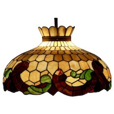Large Hanging Stained Glass Dome Light with a Fantastic Ceiling Canopy, Circa 1930