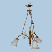 Three Arm Electric Chandelier with Art Glass Shades, Circa 1900