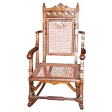 Rare, George Hunzinger Walnut Rocking Chair, Signed and Patent Dated