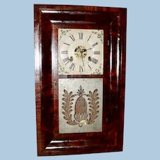 Elisha Manross 30 Hour Brass Works Mahogany Ogee Clock, Circa 1845