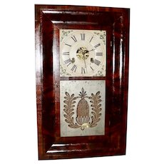 Elisha Manross 30 Hour Brass Works Mahogany Ogee Clock, Circa 1845