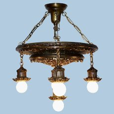 Five Light Classical Drop Light Pendant Chandelier, Circa 1910-1920