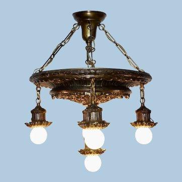 Five Light Classical Drop Light Pendant Chandelier, Circa 1910-1920