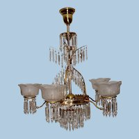 Large Five Arm Gas Crystal Chandelier with Period Prisms & Shades, Circa 1880-1890