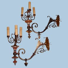 Near Pair of Large Aesthetic Gas Sconces with Porcelain Inserts and Candle Clusters, Circa 1880