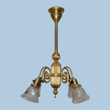 Four Arm Early Electric Chandelier with Period Shades