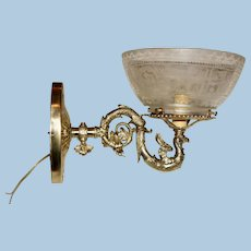 Rare Griffin Gas Sconce with Matching Shade, Circa 1875