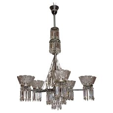 Monumental Five Arm Gas Chandelier with Prisms and EAPG Shades