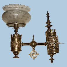 Monumental Aesthetic Gas Sconce with Exceptional Cut Crown Shade