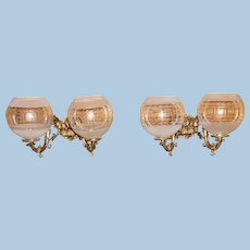 Pair of Rococo Double Arm Gas Sconces, Circa 1870