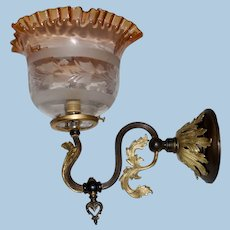Gas Sconce with Original Dark Patination, Gold Highlights & Period Shade