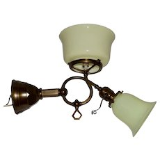 Gas & Electric Wall Sconce with Matching Uranium Glass Shades