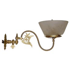 Aesthetic Style Gas Sconce with Boston & Sandwich Etched Shade
