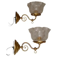 Pair of Gas Brass Sconces with Etched Period Shades