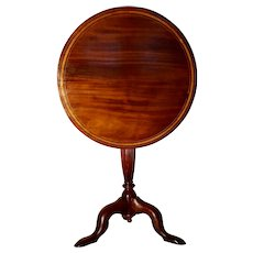 Sheraton Tilt Top Mahogany Table with Satin Wood and Ebony Inlay