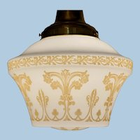 American Classical Drop Light Fixture with a Period Shade, Circa 1910