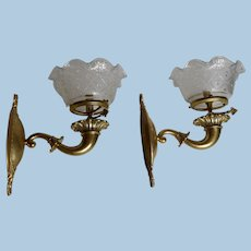 Pair of Classical American Gas Sconces with Period Shades, Circa 1890