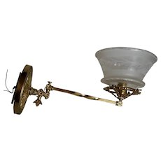Brass Swing Arm Gas Sconce with Period Cut Shade
