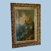 19th Century High Relief Gilt Frame with Free Novice Artist Oil Painting