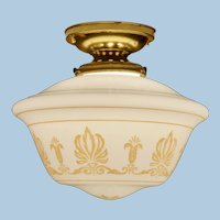 Classical Flush Mount Brass Ceiling Fixture with Opal Shade, Circa 1920