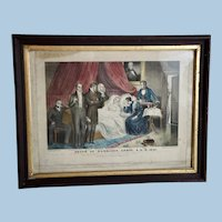 "Early Currier Lithograph ""Death of Harrison"" in a Period 19th Century Frame"