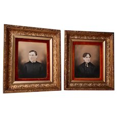 Pair of Enhanced Photographs in Matching Gilt Gesso Frames, Circa 1870