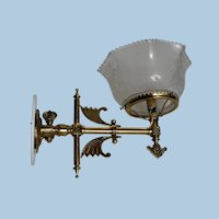 Eastlake Transitional Brass Gas Sconce with Period Shade, Circa 1880