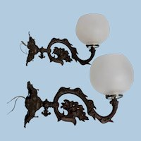 Pair of Early Rococo Brass Sconces with Hand Blown Shades, Circa 1860