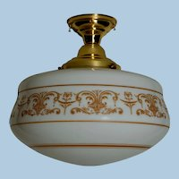 Large Flush Mount Brass Ceiling Fixture with Opal Shade, Circa 1915