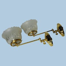 Pair of Gas Sconces with Period Pressed Shades, Lot #1
