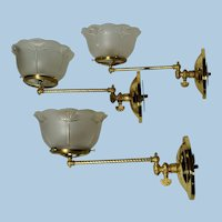 Set of Three Matching Gas Sconces with Period Pressed Shades, Lot #3
