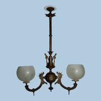 Two Arm Neo-Grec Gas Chandelier with Hand Blown and Cut Shades