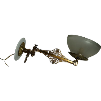 Aesthetic Movement or Eastlake Gas Sconce with Period Shade, Circa 1880