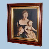 Victorian Walnut Frame with Print by the Artist Hans Holbein The Younger