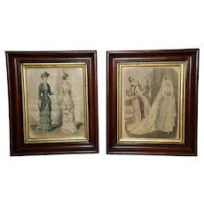 Pair of Victorian Walnut Frames with Original Glass and French Fashion Prints, Circa 1870