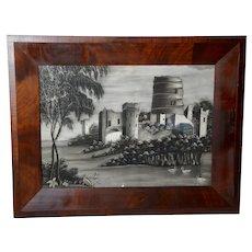 Folk Art Charcoal Drawing in a Mahogany Ogee Frame, Circa 1850
