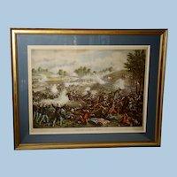 Kurtz & Allison Civil War Lithograph of The Battle of Bull Run, 1889