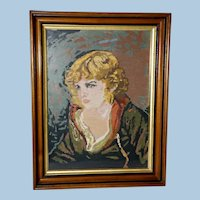 Large Victorian Walnut Frame with a Needlepoint Portrait, Circa 1870