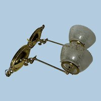 Pair of Swing Arm Gas Sconces with Period Shades, Circa 1890