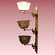 Set of Three Gas Sconces with Matching Period Shades