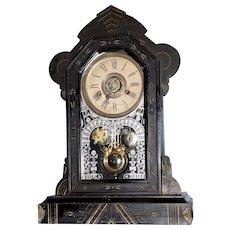 "W. L. Gilbert Ebonized Eastlake Shelf Clock ""MERL"""