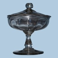 Early American 19th Century Covered Compote or Bowl